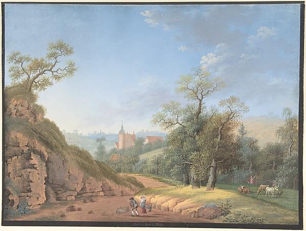 Peasant Family in a Landscape, Johann Friedrich Nagel (German, Waldheim 1765–1825 Meißen), Gouache. Framing line in black gouache.