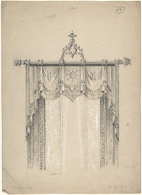 Design for Gothic Curtains and Curtain Rod, Charles Hindley and Sons  (British, London