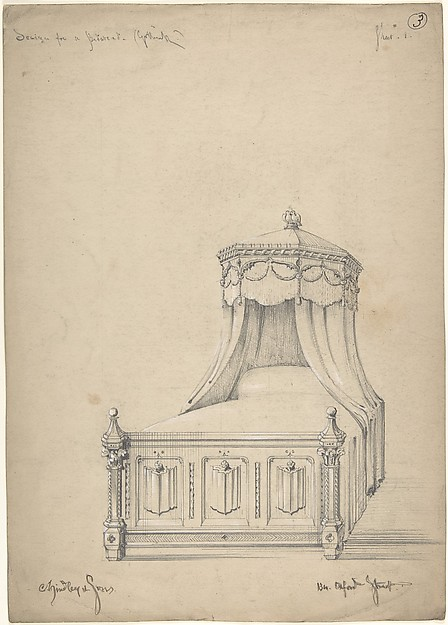 Design for a Gothic Bed, Charles Hindley and Sons (British, London 1841–1917 London), Graphite with touches of white gouache