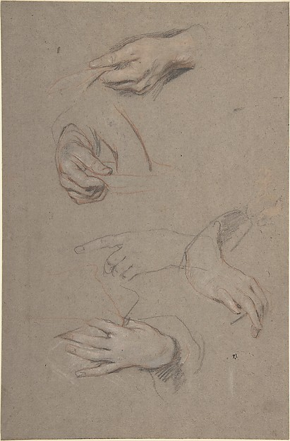 Studies of Hands, Sir Peter Lely (Pieter van der Faes) (British, Soest 1618–1680 London), Red, black, and white chalk