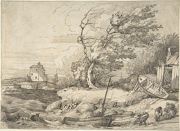 Beaching a Fishing Boat in a Gale, John Hamilton Mortimer (British, Eastbourne 1740–1779 London), Pen and black ink