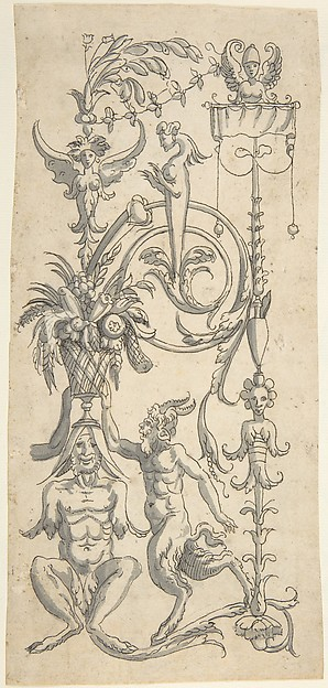 Candelabra Grotesque with a Crouched Satyr Carrying a Fruit Basket, Anonymous, Italian, 16th century ?, Pen and black ink, brush and gray wash