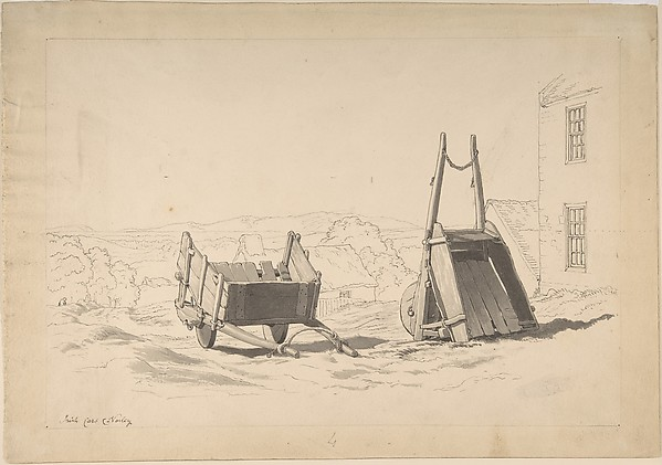 Irish Cars (Study of Two Carts in a Landscape), Cornelius Varley (British, London 1781–1873 London), Pen and black ink, brush and gray wash over graphite
