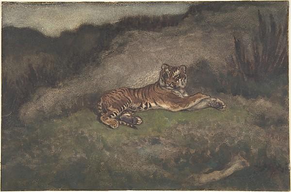 Tiger, Antoine-Louis Barye (French, Paris 1796–1875 Paris), Watercolor on heavy wove paper