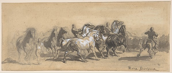 "Study for ""The Horse Fair"", Marie-Rosalie Bonheur (French, Bordeaux 1822–1899 Melun), Black chalk, gray wash, heightened with white"
