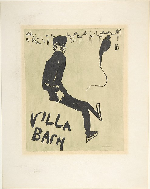 Two Skaters; cover for a concert program at Villa Bach, Pierre Bonnard (French, Fontenay-aux-Roses 1867–1947 Le Cannet), Watercolor and black ink over graphite on heavy wove paper