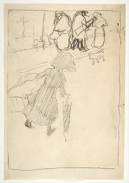 The Little Laundry Girl (La Petite Blanchisseuse), Pierre Bonnard (French, Fontenay-aux-Roses 1867–1947 Le Cannet), Lithographic crayon on cream wove paper