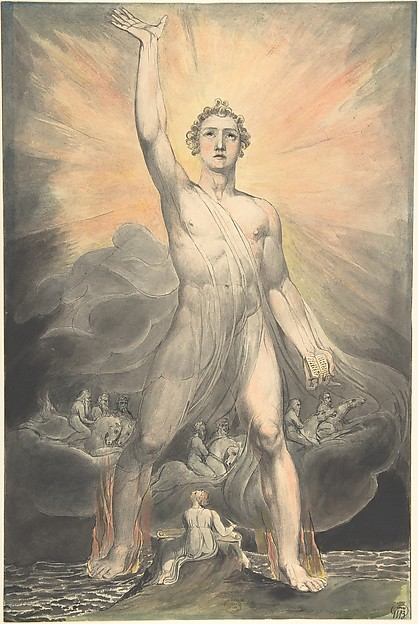 Angel of the Revelation (Book of Revelation, chapter 10), William Blake (British, London 1757–1827 London), Watercolor, pen and black ink, over traces of graphite