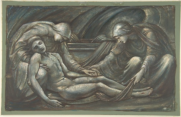The Entombment, Sir Edward Burne-Jones (British, Birmingham 1833–1898 Fulham), Green, blue, brown and touches of reddish gouache, heightened with white gouache on green paper