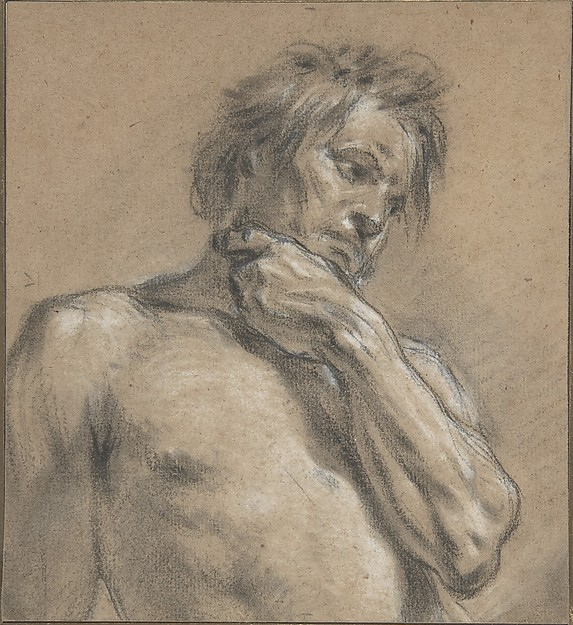 Half-Length Study of a Man, François Boucher (French, Paris 1703–1770 Paris), Black and white chalk on beige (probably formerly blue) laid paper
