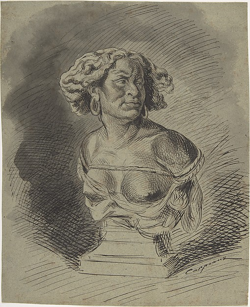 Africa: study for sculpture, Jean-Baptiste Carpeaux (French, Valenciennes 1827–1875 Courbevoie), Pen and black ink over gray and brown wash.