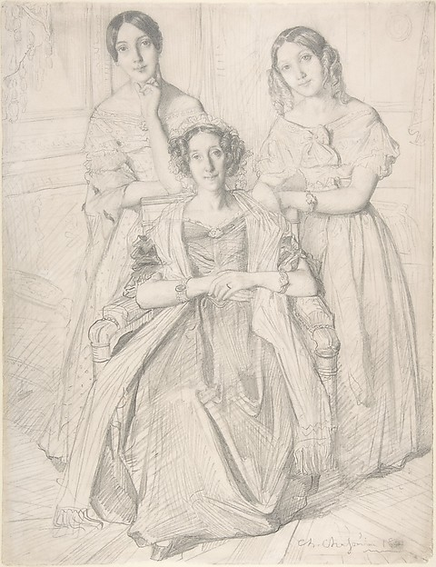 The Baroness Duperré and Her Daughters, Théodore Chassériau (French, Le Limon, Saint-Domingue, West Indies 1819–1856 Paris), Graphite on wove paper
