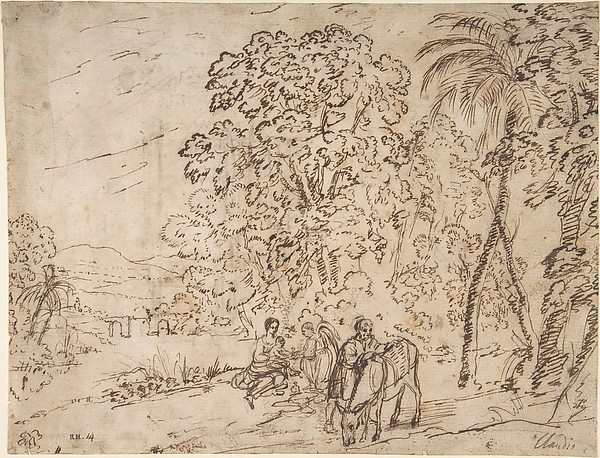 The Rest on the Flight into Egypt (recto); The Arch of Titus, Camp Vaccino (verso), Claude Lorrain (Claude Gellée) (French, Chamagne 1604/5?–1682 Rome), Pen and brown ink over traces of black chalk (recto), pen and brown ink (verso)