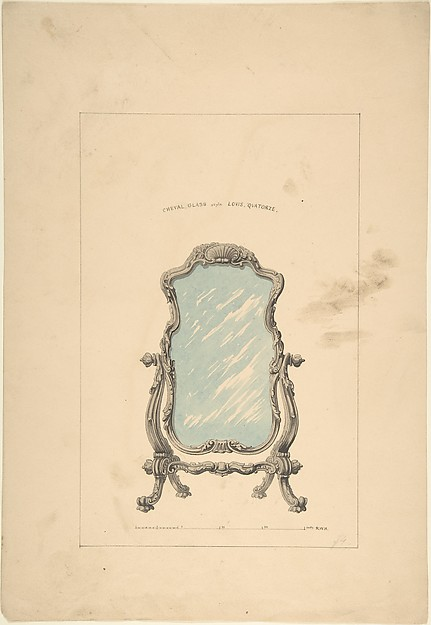 Design for Cheval Glass, Robert William Hume (British, London 1816–1904 Long Island City), Ink, graphite, watercolor
