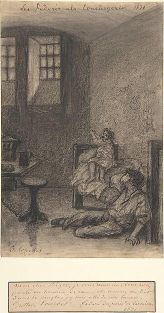 Young Communards in Prison (Les Fédérés à la Conciergerie), Gustave Courbet (French, Ornans 1819–1877 La Tour-de-Peilz), Black chalk (rubbed) on wove paper