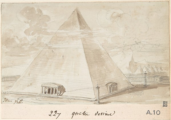 Study of a Pyramid, Jacques Louis David (French, Paris 1748–1825 Brussels), Brush and brown wash over graphite