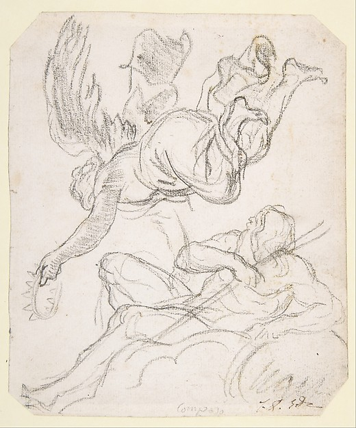 Flying Figure Holding a Crown, Reclining River God, Jacques Louis David (French, Paris 1748–1825 Brussels), Black chalk