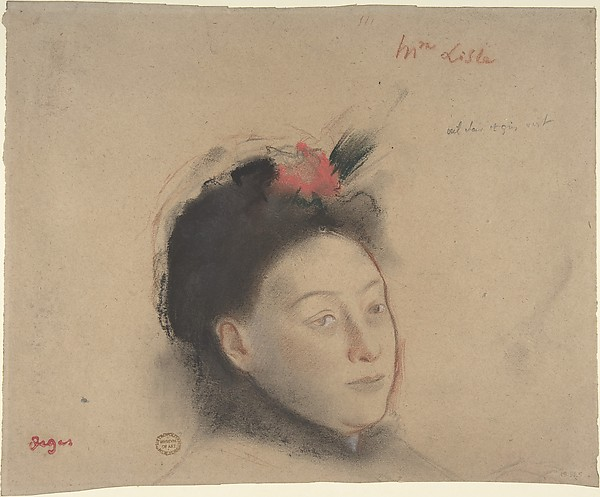 Madame Lisle, Edgar Degas (French, Paris 1834–1917 Paris), Charcoal and pastel with red, black, and white chalk on beige wove paper