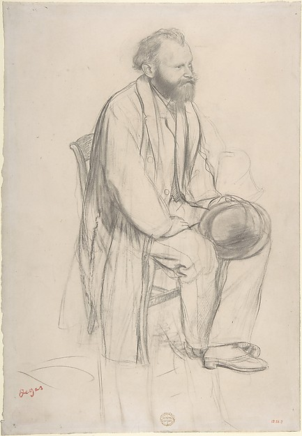 Édouard Manet, Seated, Holding His Hat, Edgar Degas (French, Paris 1834–1917 Paris), Graphite and black chalk on wove (China) paper
