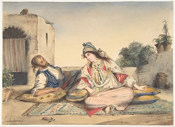 A Moroccan Couple on Their Terrace, Eugène Delacroix (French, Charenton-Saint-Maurice 1798–1863 Paris), Watercolor over traces of graphite