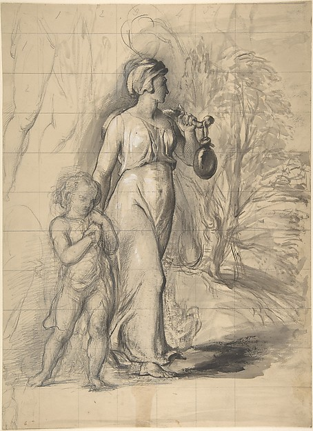 Hagar and Ishmael in the Wilderness (recto); Two Portrait Studies of the Artist's Wife, and a Study of a Leg and Torso (verso), George Richmond (British, Brompton 1809–1896 London), Graphite, pen and black ink, brush and black wash, with white gouache on paper (recto); graphite and black chalk with touches of gouache on paper (verso)
