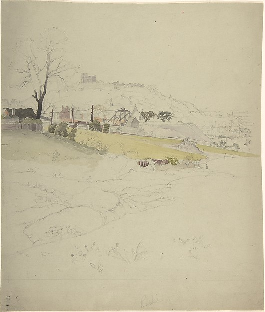View of a Colliery at the Edge of a Town, Attributed to John Ruskin (British, London 1819–1900 Brantwood, Cumbria), Watercolor over graphite on card