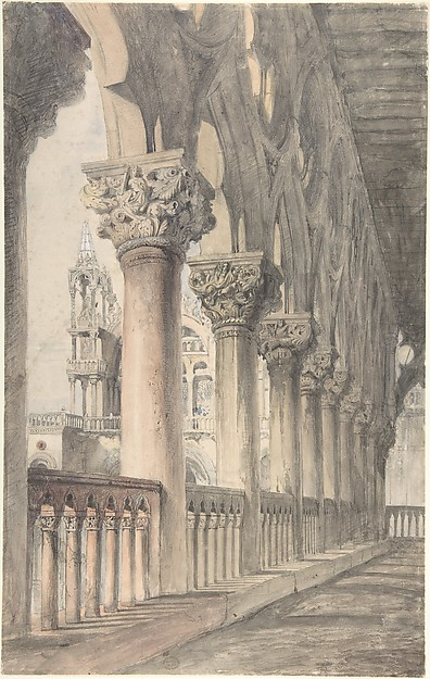 Loggia of the Ducal Palace, Venice, John Ruskin (British, London 1819–1900 Brantwood, Cumbria), Watercolor over graphite