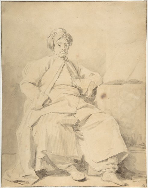 The Sultan, Jean Honoré Fragonard (French, Grasse 1732–1806 Paris), Brush and brown wash over black chalk underdrawing