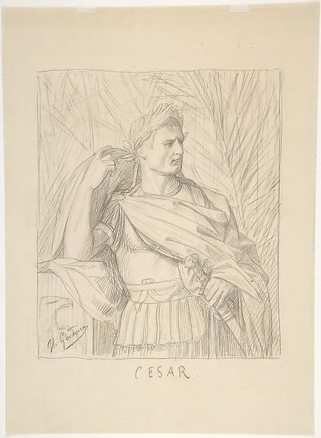 Julius Caesar, Jean-Léon Gérôme (French, Vesoul 1824–1904 Paris), Graphite on wove paper