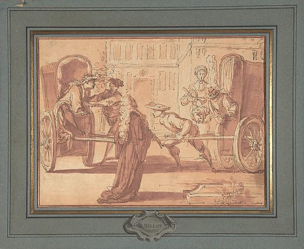 La scène des deux carrosses, Claude Gillot (French, Langres 1673–1722 Paris), Pen and black ink, brush and red wash