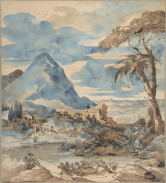 Landscape with Fishermen, Théodore Gericault (French, Rouen 1791–1824 Paris), Graphite, pen and brown ink, brown and blue wash