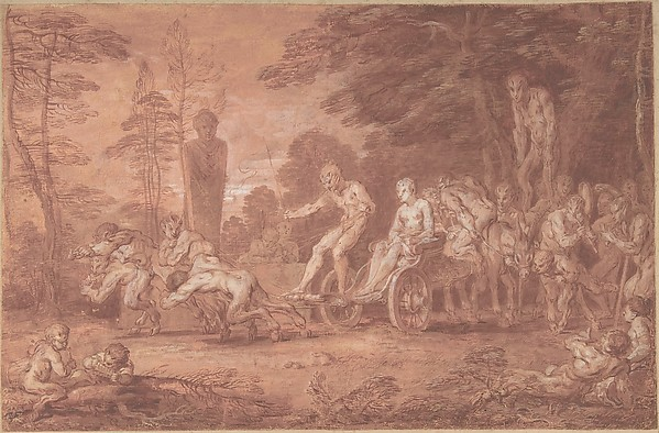 The Stalled Procession, Claude Gillot (French, Langres 1673–1722 Paris), Point of brush with gouache and red wash, over pen and black ink underdrawing, on prepared white laid paper