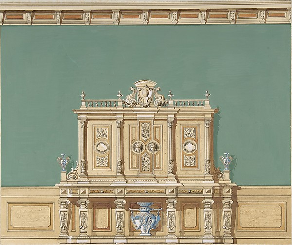 Interior Design With A Large Renaissance Style Cabinet Against Green Wall Anonymous British