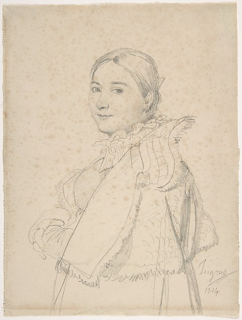 Madame Jean-Auguste-Dominique Ingres, née Madeleine Chapelle, Jean Auguste Dominique Ingres (French, Montauban 1780–1867 Paris), Graphite on off-white wove paper