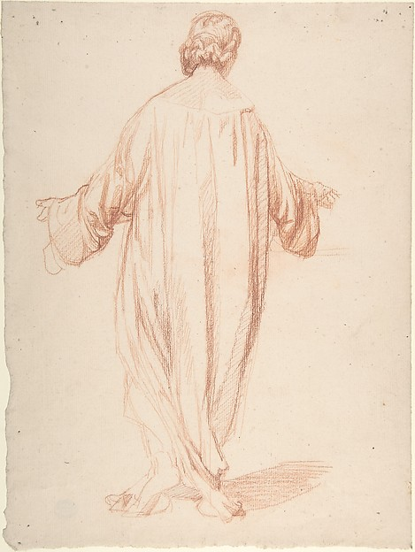 Back View of Standing Woman, Alexandre Laemlein (French, Hohenfeld 1813–1871 Pontlevoy), Red Chalk