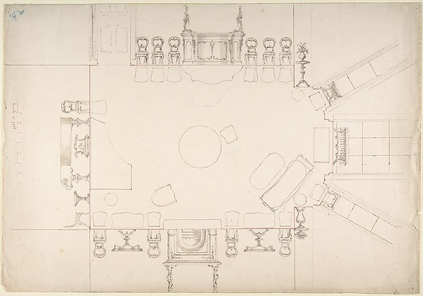 Plan and Elevations of a Music Room, Anonymous, British, 19th century, Ink, graphite and watercolor