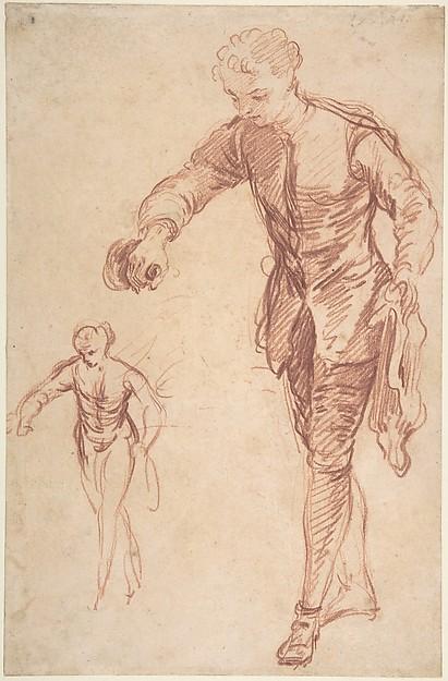 Study of a Valet Pouring Wine, François Le Moyne (French, Paris 1688–1737 Paris), Red Chalk