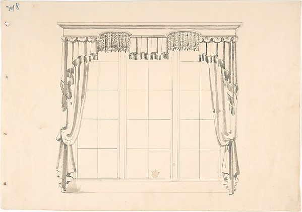 Design for Fringed Curtains, Anonymous, British, 19th century, Ink and wash
