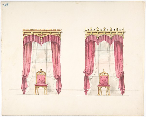Design for Two Red Fringed Curtains with Gold Pelmets, Anonymous, British, 19th century, Ink, watercolor and wash