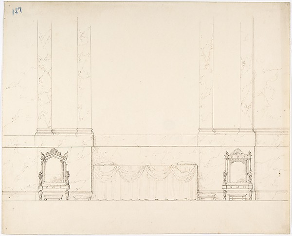 Elevation of a Wall with Marble Pilasters, a Draped Table and Two Armchairs with Footstools, Anonymous, British, 19th century, Pen and ink