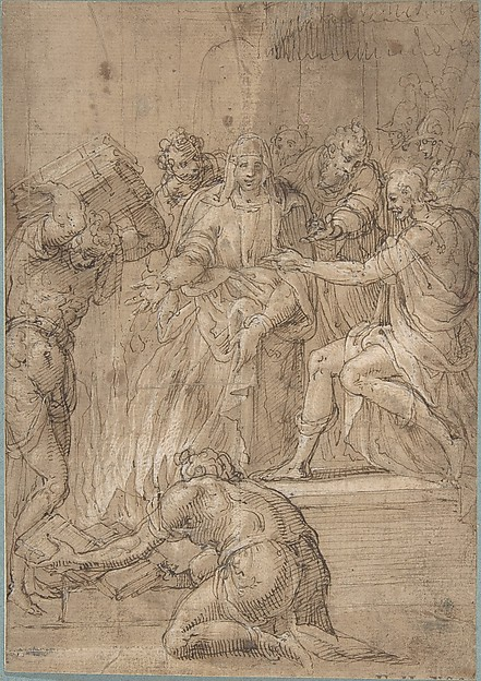 The Cumaean Sibyl before Tarquin the Proud, Niccolò dell' Abate (Italian, Modena 1509–1571 Fontainebleau (?)), Pen and brown ink, brush and brown wash, highlighted with white gouache, on traces of lead point or black chalk, on light brown paper