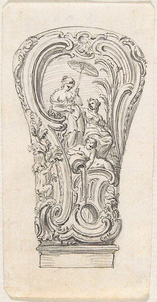 Design for a Repouseé Cane Handle, Juste Aurèle Meissonnier (French, Turin 1695–1750 Paris), Pen and gray ink with brush and gray wash over graphite underdrawing