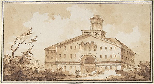 A Building, Misbach (French, active ca. 1800), Pen and brown ink, washed.