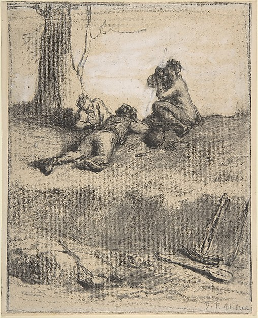 Roadworkers at Lunch, Jean-François Millet (French, Gruchy 1814–1875 Barbizon), Conté crayon with stumping, heightened with white gouache, on laid paper.