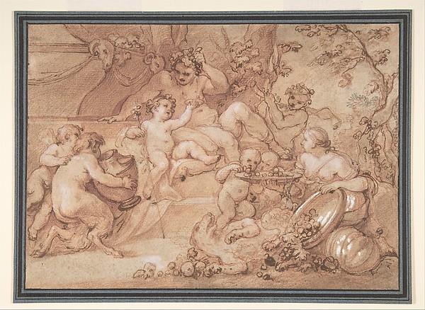 The Harvest of Silenus, Charles Joseph Natoire (French, Nîmes 1700–1777 Castel Gandolfo), Red, white and touches of black chalk, pen and brown ink, brush and brown wash, heightened with white, on beige paper