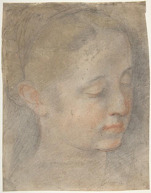 Head of a Young Woman Looking to Lower Right, Federico Barocci (Italian, Urbino ca. 1535–1612 Urbino), Black, red, and yellow chalk