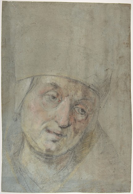 Head of a Pope(?) (recto); Two Studies of Left Hand (verso), Ascribed to Jacopo Bassano (Jacopo da Ponte) (Italian, Bassano del Grappa ca. 1510–1592 Bassano del Grappa), Black and colored chalks on blue paper (recto); black chalk (verso)