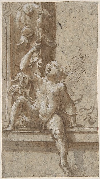 A Putto Seated on a Frame, Girolamo Mazzola Bedoli (Italian, Viadana ca. 1505–ca. 1570 Parma), Pen and brown ink, brush and brown wash, highlighted with white gouache, over traces of leadpoint or black chalk.