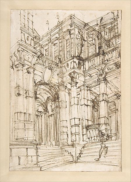 Sketch for a stage set foreshortened view of a palace with a figure on the