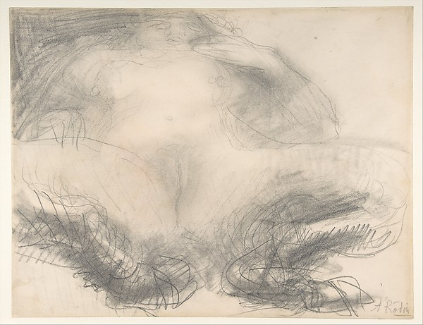 Study of a nude female figure (Satyress), Auguste Rodin (French, Paris 1840–1917 Meudon), Graphite and watercolor on paper